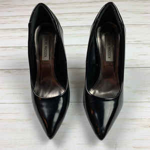 Steve Madden Priya PU Black Leather Heels, Size 8